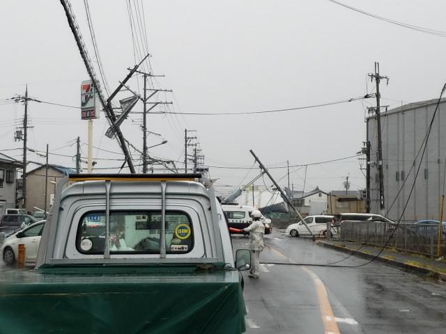 台風21号で倒れた電柱